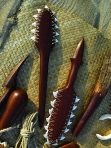 War clubs with shark teeth made by Umi Kai.