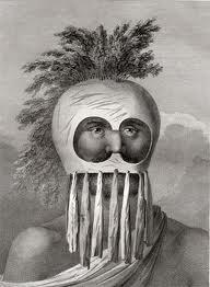 Traditional Hawaiian warrior with helmet.