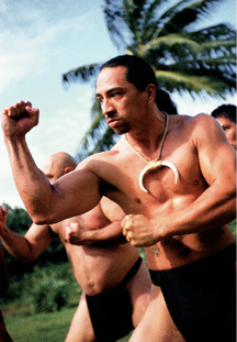 Warriors practising lua, a traditional Hawaiian martial art.