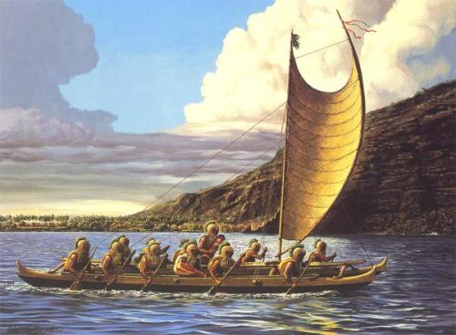 Hawaiian warriors paddling a canoe with sail.