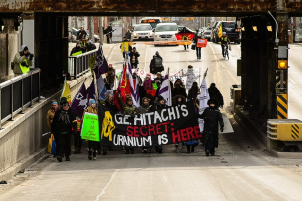 Protesters marching to the train tracks in Toronto, Feb 3, 2013.