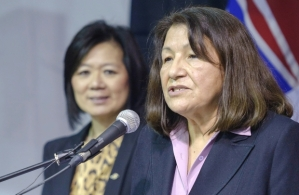 Ktunaxa chief Kathryn teneese and Aboriginal Affairs minister Ida Chong at press conference announcing revenue sharing deal, Jan 29, 2013.