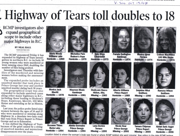 Missing Women Highway of Tears news