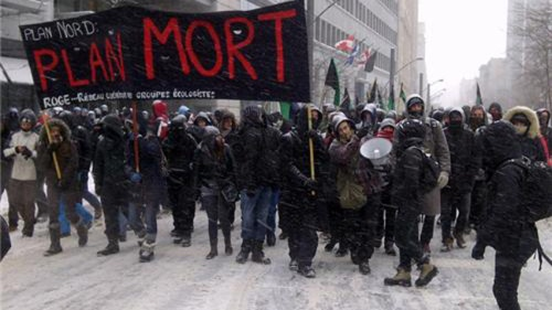 Protest against Plan Nord in Montreal, Feb 9, 2013.