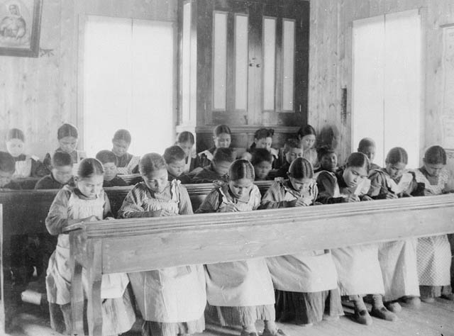 Residential-school girls class