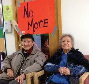 Burns Lake band elders Peter John and Ruth Tibbetts take part in blockade of band office.