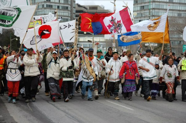Cree walkers and supporters march in Ottawa, March 2013.