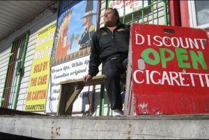 Tobacco store in Kahnawake, Mohawk Territory.