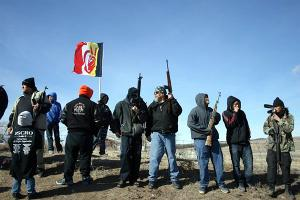 Armed participants at the 40th anniversary of Wounded Knee.