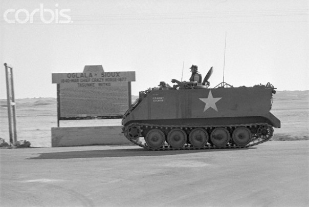 One of several armoured personnel carriers deployed by the US Army at Wounded Knee in 1973.