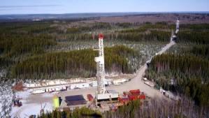 Apache drilling rig in Ladyfern, BC.