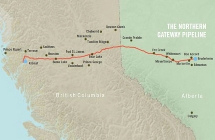 Enbridge pipeline BC towns map