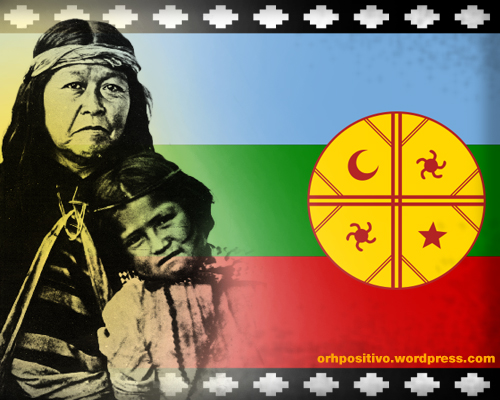 The flag of the Mapuche nation and ancestors.