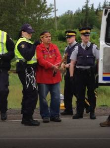 One of 12 people arrested in New Brunswick during anti-fracking protest, June 14, 2013.
