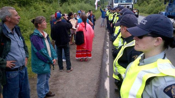 New Brunswick gas protest police line