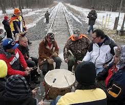 Blockade of CN railway near Sarnia in December, 2012.