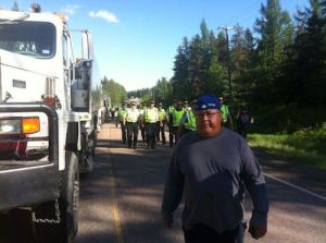 Mi'kmaq war chief John Levi during anti-shale protests, June 2013.