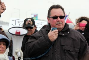 Ron Plain speaking during a rally.