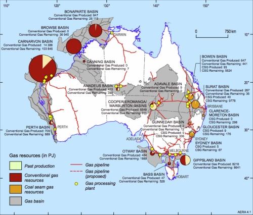 Australia coal seam gas map
