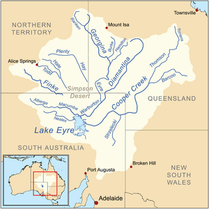 The Lake Eyre basin in south central Australia.