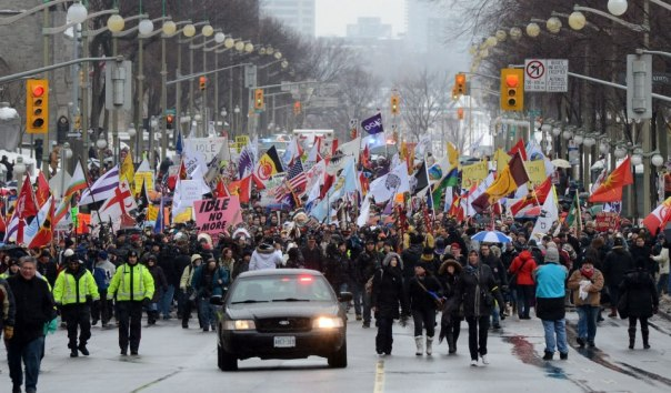 Idle No More protest on January 11, 2012, in Ottawa.