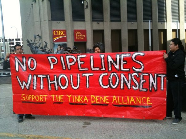 Yinka Dene protest against proposed Enbridge pipeline.