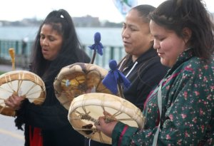Women drum and sing at Idle No More Oct 7 rally in Windsor, Ont.