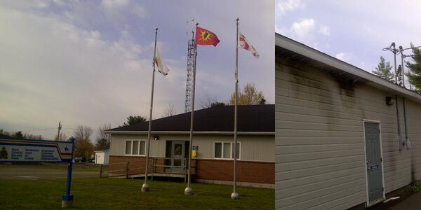 RCMP station  in Elsipogtog, with Canadian flag replaced by a Warrior flag.