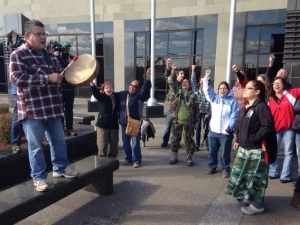 Mi'kmaq and supporters at Moncton courthouse, Oct 21, 2013.