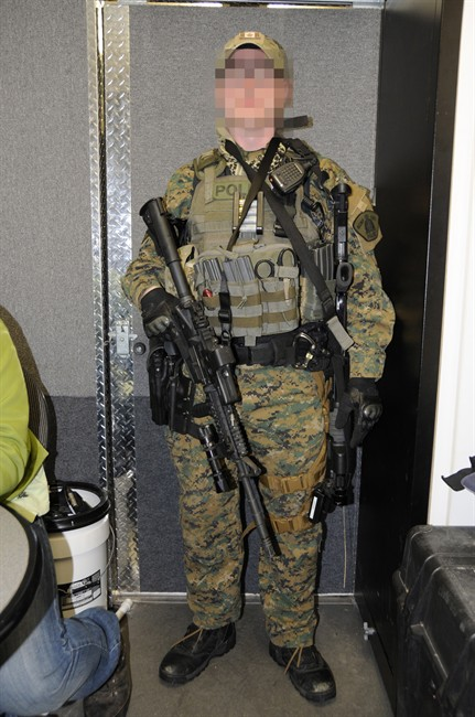RCMP ERT member from Prince George, 2009, wearing MARPAT, the camo pattern used by the US Marine Corp, armed with C7 rifle.