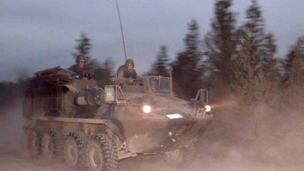 One of eight Bison APC's used by RCMP at Ts'Peten, 1995.