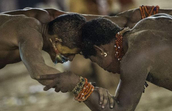 Wrestlers during Indigenous Games in Brazil, November 2013.