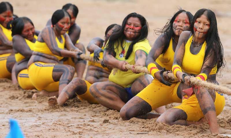 Members of the Brazilian Kaypo Mekrangnoti indigenous ethnic group ...