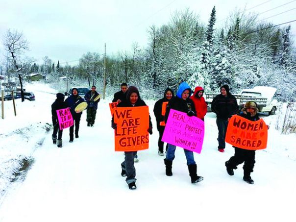Protesting violence against women, Grassy Narrows, Ontario, Nov 19, 2013.