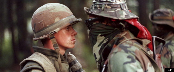 Canadian soldier and warrior face off during 1990 Oka Crisis.