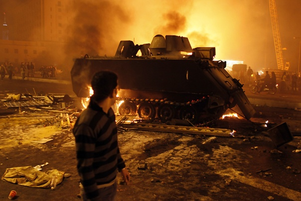 A burned out armoured personnel carrier in Cairo, Egypt, January 2013.