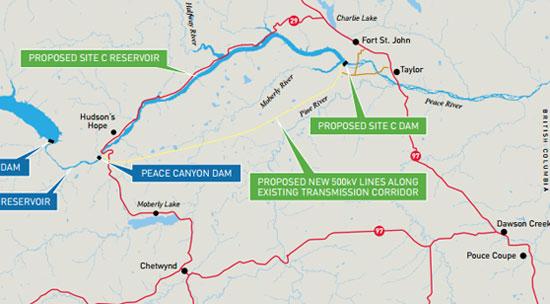 BC Hydro Site C dam map 2
