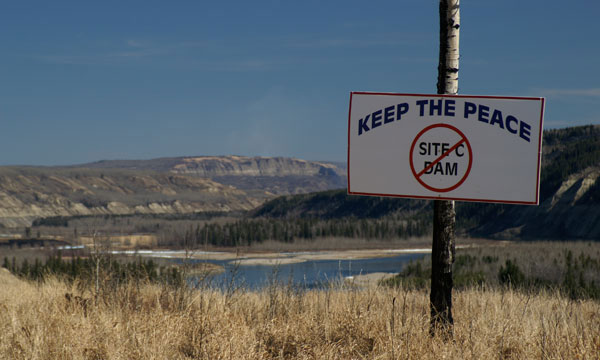 Protest sign along Peace River in north eastern BC. Photo: The Tyee