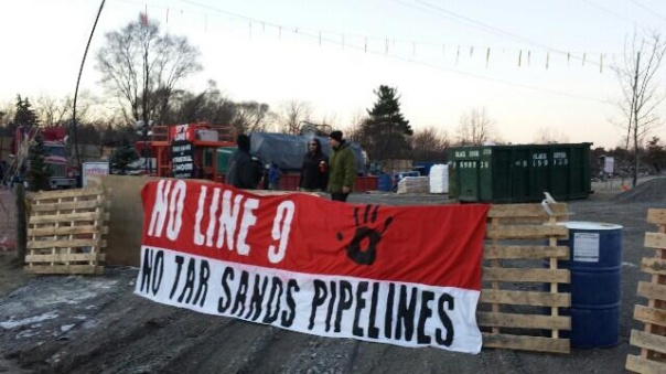 Protest against Enbridge Line 9 reversal near Hamilton, Dec 2013.