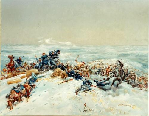 Painting depicting the Fetterman battle, by JK Ralston.