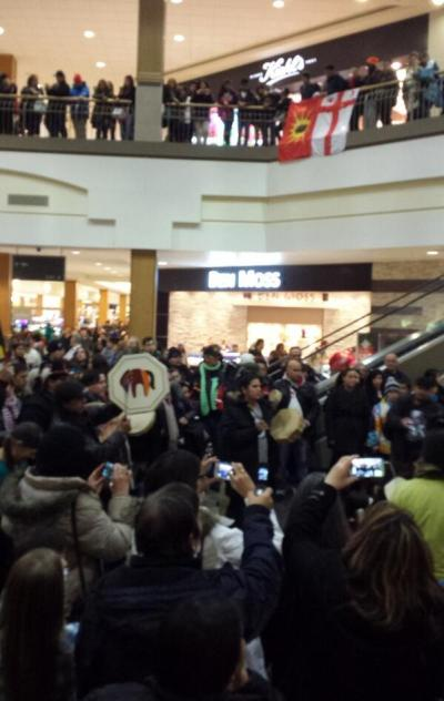 INM anniversary rally in Winnipeg, Dec 21, 2013; solidarity rallies with the Mi'kmaq saw a fraction of this number in the streets.