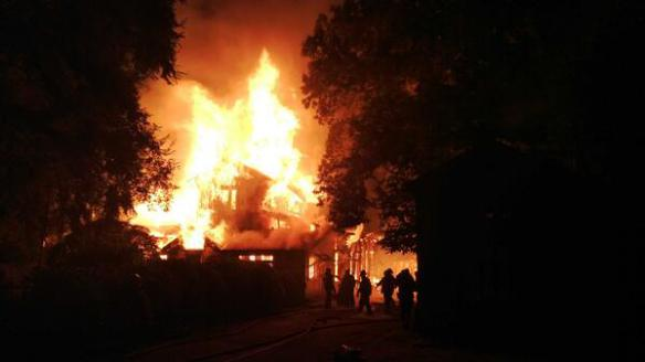 Arson of house in Mapuche territory, Chile, on Dec 27, 2013.