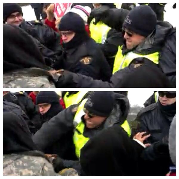 "Some police ""impartiality""; Mi'kmaq warriorPaul ""Soda Pop"" Francis assaulted by RCMP, Dec 2, 2013."