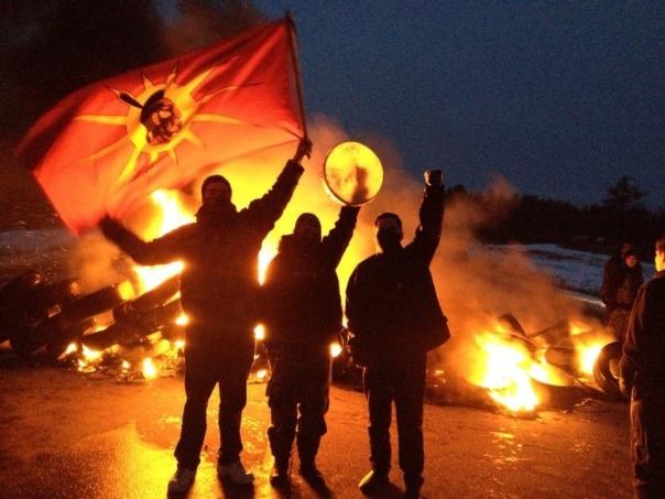 Mi'kmaq warriors at tire fire blockade, December 2013.
