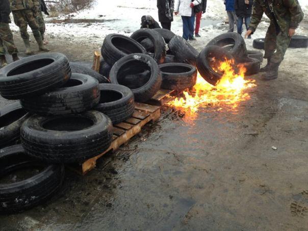 Establishing another tire fire blockade on Dec 4, 2013.
