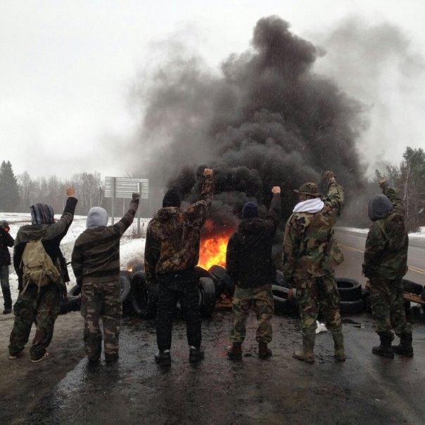 Mi'kmaq warriors on Hwy 11, Dec 4, 2013.