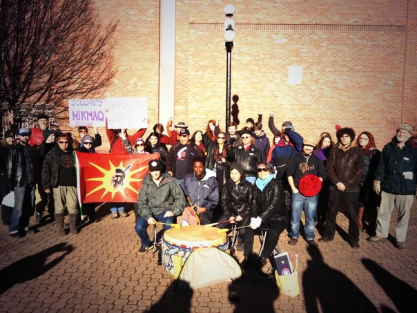Rally in Victoria, BC, in solidarity with Mi'kmaq, Dec 2, 2013.