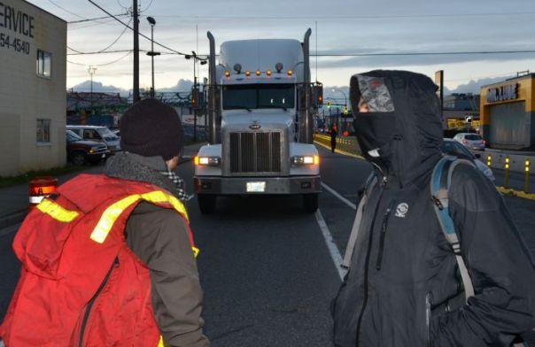Trucks blocked on Clark Drive entrance to the port.