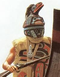 As a matter of fact, my ancestors did wear masks: Tlingit Raven warrior, painting by Bill Holm.
