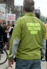 "A member of the RCMP's ""community relations group"" which worked with Defenders of the Land for their June 24, 2010 rally."